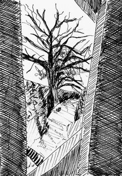 tree through gate