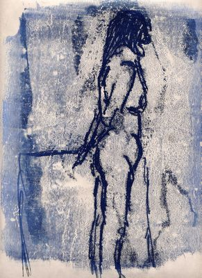 blue lifedrawing monoprint