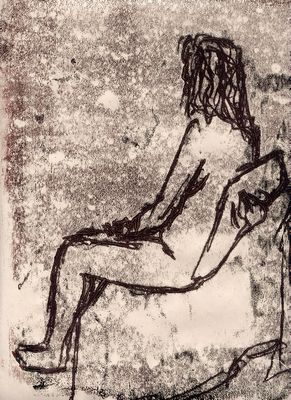 brown lifedrawing monoprint