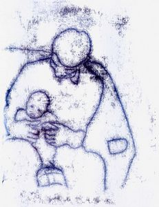 Father and Child monoprint