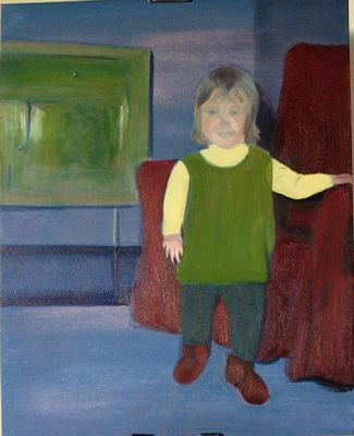 Toddler with red chair