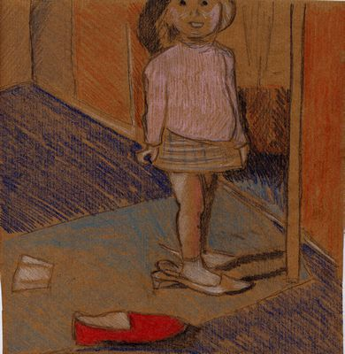 'Red Slipper' drawn on brown paper