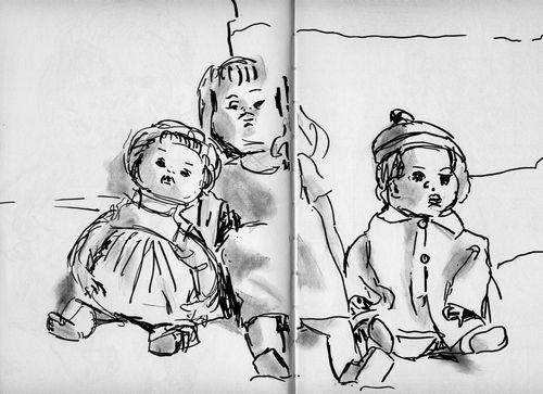 three dolls (brush pen and water soluble pencil)