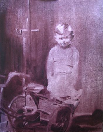 Boy with bike oil painting