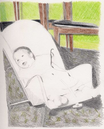 Baby in bouncy chair