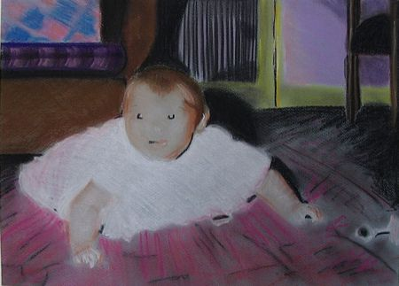Baby on carpet in pastel